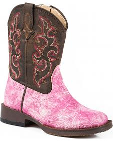 Roper Girls' Toddler Pink Vintage Tooled Cowgirl Boots - Square Toe