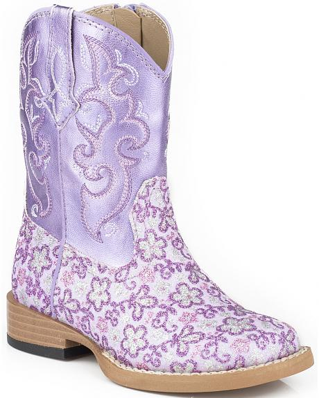 Roper Toddler Girls' Lavender Floral Glitter Cowgirl Boots - Square Toe