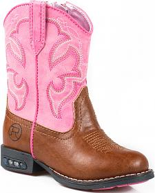 Roper Toddler Girls' Pink Light-Up Cowgirl Boots