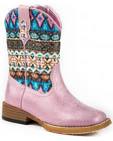 Roper Toddler Girls' Glitter Pink Aztec Cowgirl Boots - Square Toe