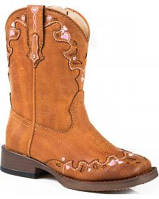 Roper Toddler Girls' Tan Vintage Crystal Cowgirl Boots - Square Toe