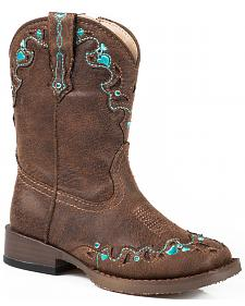 Roper Toddler Girls' Brown Vintage Crystal Cowgirl Boots - Square Toe
