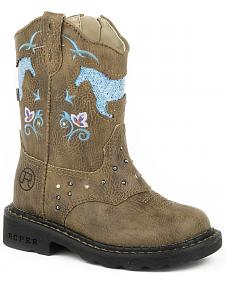 Roper Toddler Girls' Glitter Horse Light-Up Cowgirl Boots