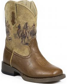 Roper Toddler Boys' Tan Western Rider Cowboy Boots - Square Toe