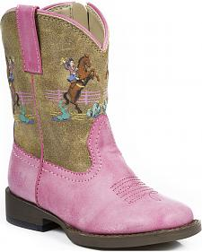 Roper Toddler Girls' Pink Vintage Rider Cowgirl Boots - Square Toe
