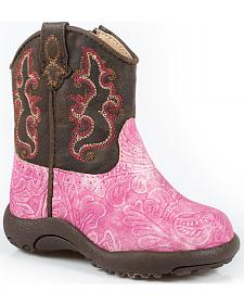 Roper Infant Girls' Pink Embossed Zipper Booties