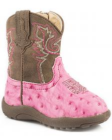 Roper Infant Girls' Pink Ostrich Print Faux Leather Booties