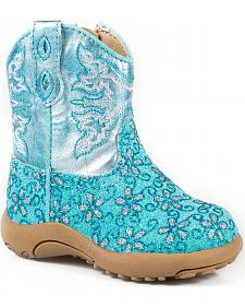 Roper Infant Girls' Glitter Blue Western Booties