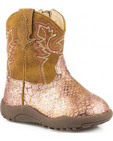 Roper Infant Girls' Pink n' Gold Glitter Booties