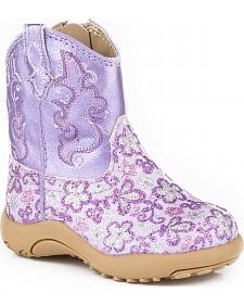 Roper Infant Girls' Purple Glitter Booties