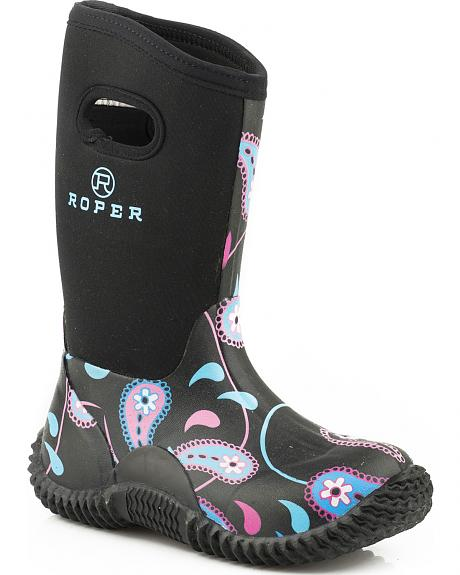 Roper Youth Girls' Pink Paisley Rubber Rain Boots