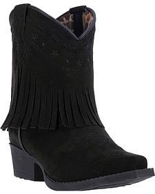Laredo Girls' Zena Black Fringe Cowgirl Boots - Snip Toe