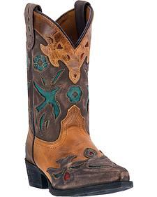 Dan Post Youth Girls' Vintage Bluebird Cowgirl Boots - Snip Toe