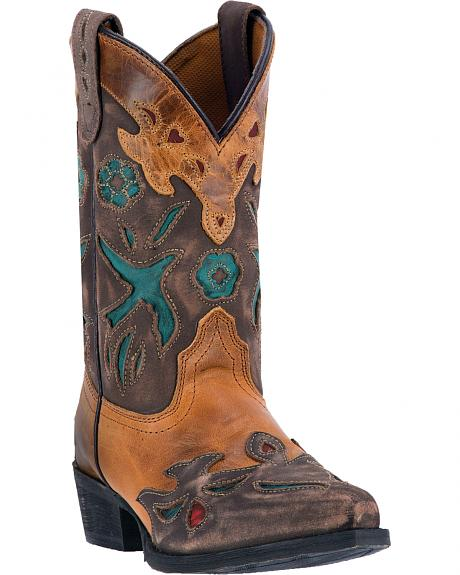 Dan Post Youth Girls' Vintage Bluebird Cowgirl Boots - Snip Toe