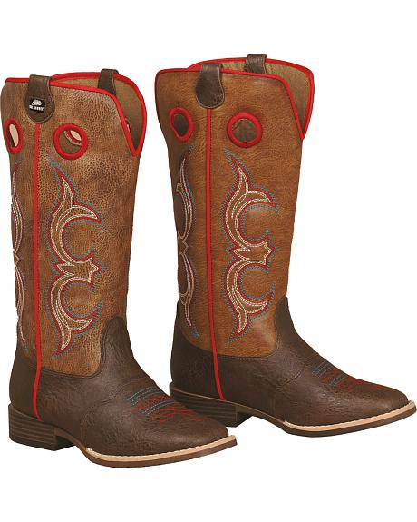 Double Barrel Boys' Kolter Zip Cowboy Boots - Square Toe