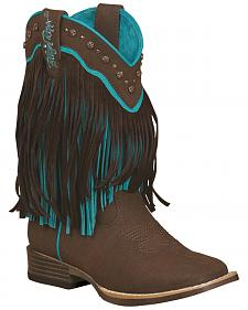 Blazin Roxx Girls' Candace Zipper Fringe Boots - Square Toe