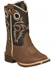 Double Barrel Boys' Brown Trace Zipper Cowboy Boots - Square Toe