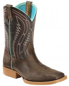 Ariat Kid's Brown Chute Boss Boots - Wide Square Toe