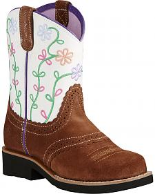 Ariat Youth Girl's Brown Fatbaby® Blossom Boots - Round Toe