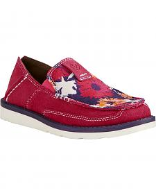 Ariat Youth Girl's Pink Flower Print Cruiser Shoes - Moc Toe