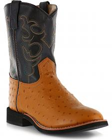 Cody James Youth Boys' Ostrich Print Western Boots - Round Toe