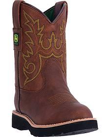 John Deere Kid's Chestnut Western Boots - Round Toe