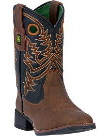 John Deere Kid's Brown Western Boots - Square Toe