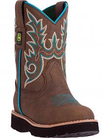 John Deere Kid's Tan Turquoise Cowboy Boots - Round Toe