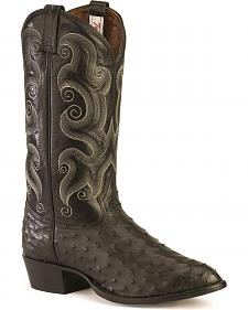 Tony Lama Full Quill Ostrich Western Boots - Medium Toe