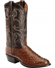 Tony Lama Full Quill Ostrich Cowboy Boots - Round Toe