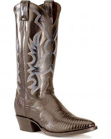 Justin Lizard Cowboy Boots - Medium Toe
