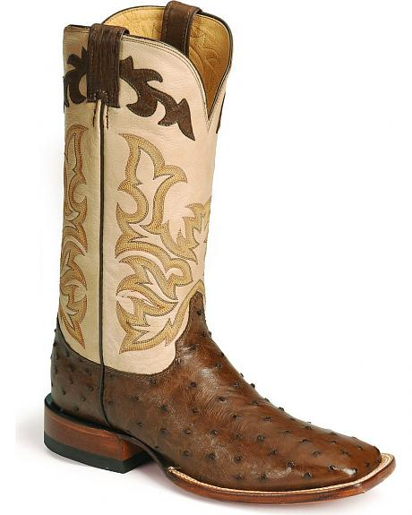 Justin Remuda Ostrich Western Boots - Square Toe