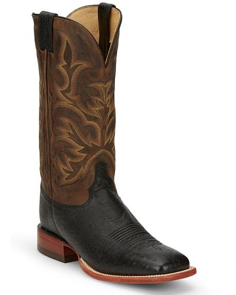 Justin Smooth Ostrich AQHA Remuda Western Cowboy Boots - Square Toe