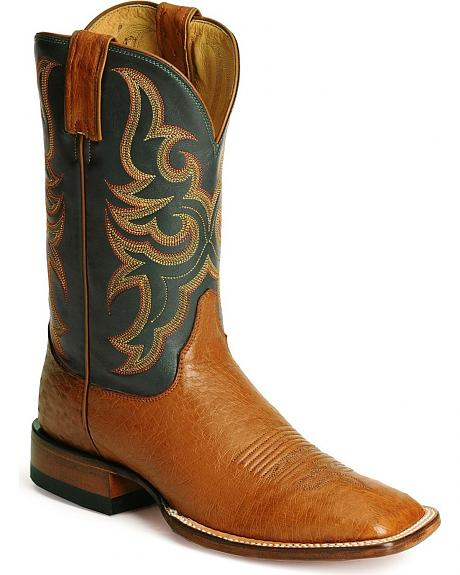Justin Smooth Ostrich Remuda Boots - Square Toe
