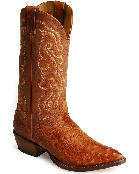 Nocona Vintage Cognac Full Quill Ostrich Western Boots
