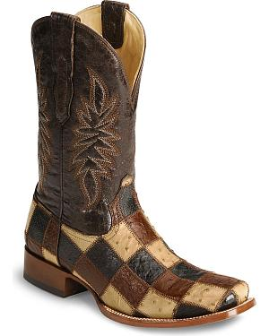 Corral Ostrich Patchwork Cowboy Boots