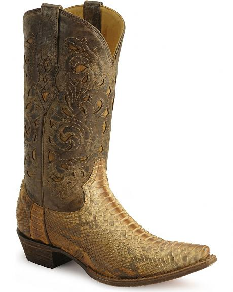 Corral Lasered Python Western Boots - Snip Toe