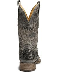 Corral Caiman Inlay Cowboy Boot - Wide Square Toe at Sheplers