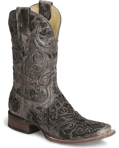 Corral Caiman Inlay Cowboy Boot - Wide Square Toe