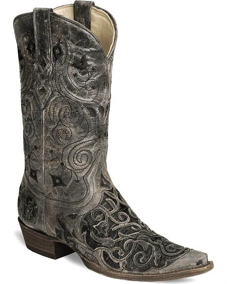 Corral Caiman Inlay Tooled Cowboy Boot - Snip Toe