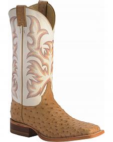 Justin AQHA Full Quill Ostrich Cowboy Boots - Wide Sq Toe