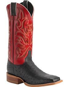 Justin Men's AQHA Full Quill Ostrich Cowboy Boots - Square Toe