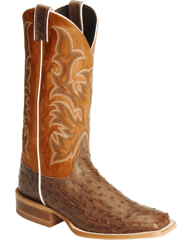 Justin Men S Aqha Full Quill Ostrich Cowboy Boot Square