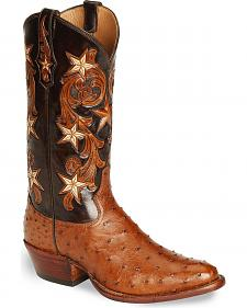 Tony Lama Signature Series Full Quill Ostrich Western Boots - Med