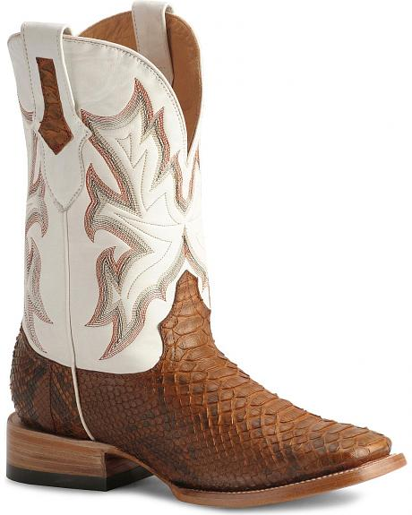Stetson Brown Python Cowboy Boots - Wide Square Toe