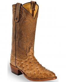 Tony Lama Antique Tan Full Quill Ostrich Cowboy Boot - Round Toe