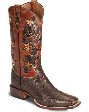 Tony Lama Signature Series Full Quill Ostrich Western Boots - Square Toe