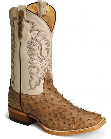 Nocona Full Quill Ostrich Western Cowboy Boots - Square Toe