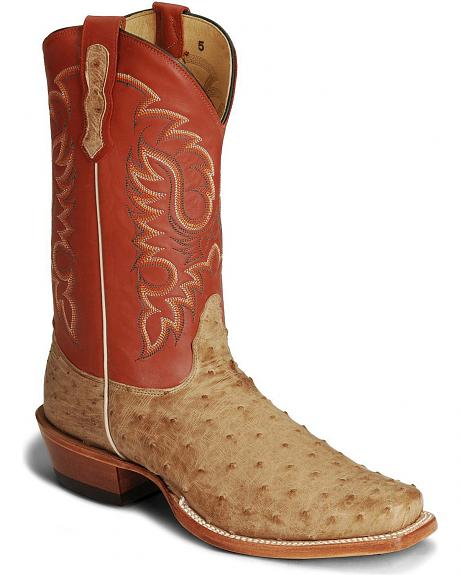 Nocona Full Quill Ostrich Cowboy Boots - Square Toe