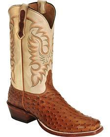 Nocona Men's Waxy Full Quilll Ostrich Cowboy Boots - Square Toe